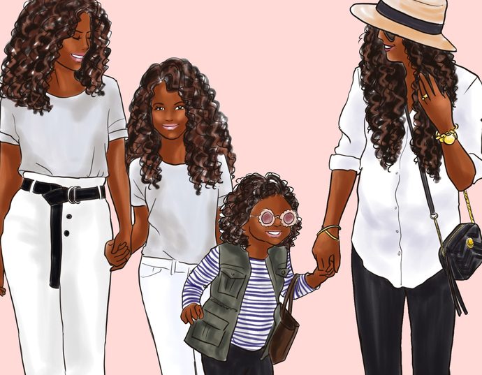 Mommy & Me 2 - Dark Skin Fashion illustration clipart, printable art, instant