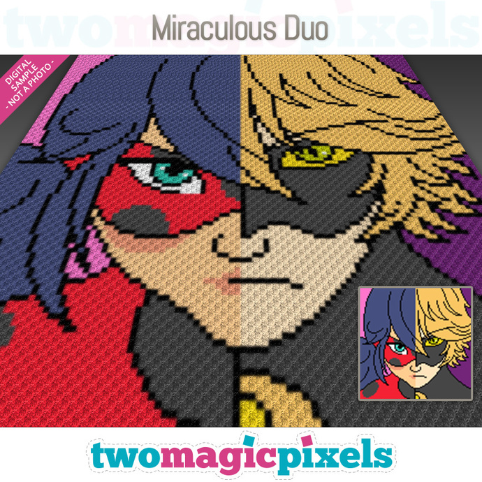 Miraculous Duo crochet graph (C2C, Mini C2C, SC, HDC, DC, TSS), cross stitch;