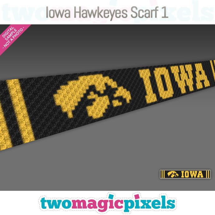 [C2C] Iowa Hawkeyes Scarf 1; crochet graph + row-by-row counts; instant PDF