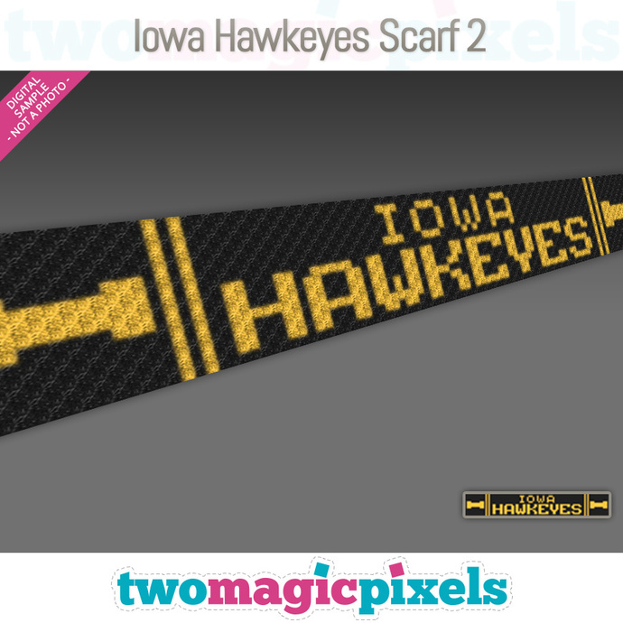 [C2C] Iowa Hawkeyes Scarf 2; crochet graph + row-by-row counts; instant PDF