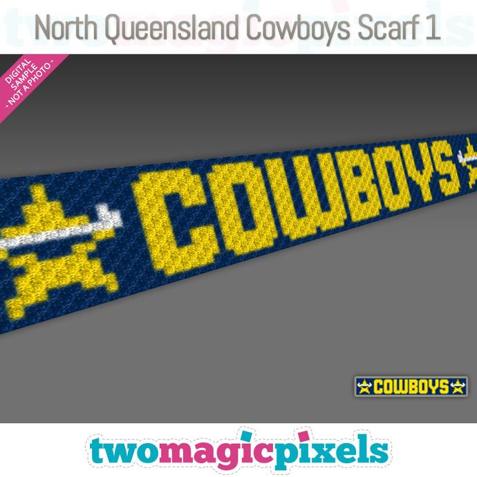 [C2C]  North Queensland Cowboys Scarf 1; crochet graph + row-by-row counts;