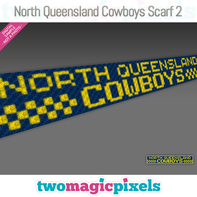 [C2C]  North Queensland Cowboys Scarf 2; crochet graph + row-by-row counts;