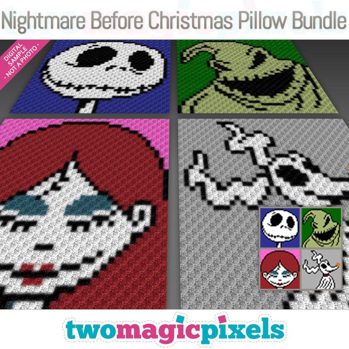 Nightmare Before Christmas Crochet Blanket.Nightmare Before Christmas Pillow Bundle Crochet Graphs C2c Mini C2c Sc Hdc Dc Tss Pdf Download No Counts Instructions