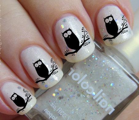 Black OWL Nail Art (OWT) Owls in a Tree Familiar Symbols Black Nail Art Water