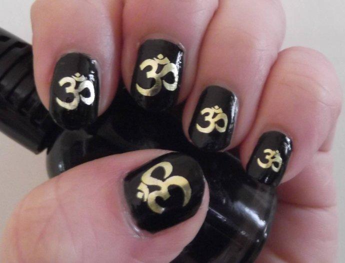 GOLD OM Symbol Nail Art (OMG) 39 Decals Yoga Meditation Sanskrit Waterslide