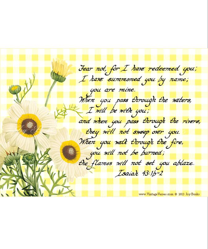 Isaiah 43:1b-2 Vintage Verses Hand Written Calligraphy Wall Art DIY