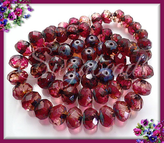 10 Faceted Rondelle Beads - Cranberry Red Beads, Fuchsia Czech Glass Beads,