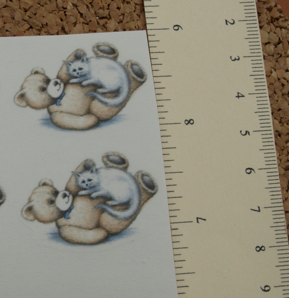 Teddy Bear with Cat 1 Ceramic Waterslide Decal D10