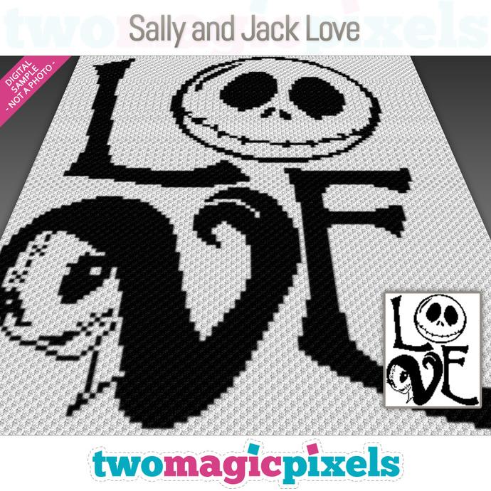 Nightmare Before Christmas Crochet Blanket.Sally And Jack Love Crochet Graph C2c Mini C2c Sc Hdc Dc Tss Cross Stitch Pdf Download No Counts Instructions