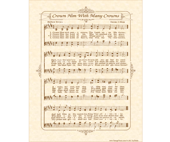 CROWN HIM WITH MANY CROWNS Vintage Verses DIY Print It Yourself Sheet Music Wall