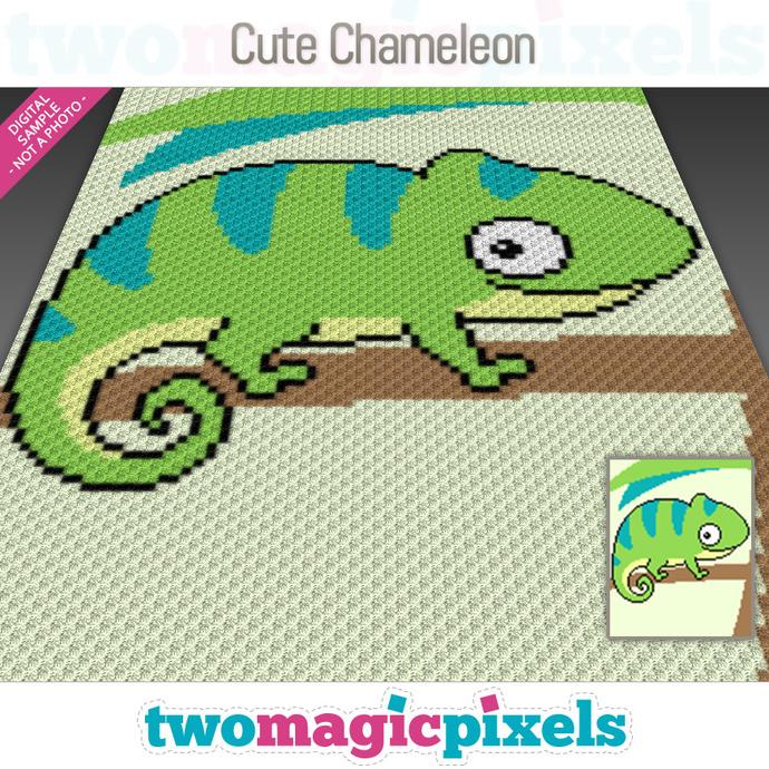 Cute Chameleon crochet graph (C2C, Mini C2C, SC, HDC, DC, TSS), cross stitch;