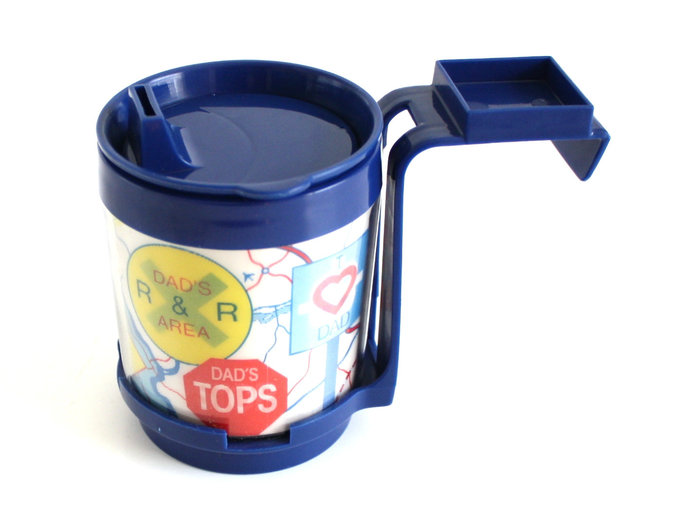 "1980s Car Cup Holder, ""Dad"" Thermal Travel Mug, Classic Auto / Truck Accessory,"