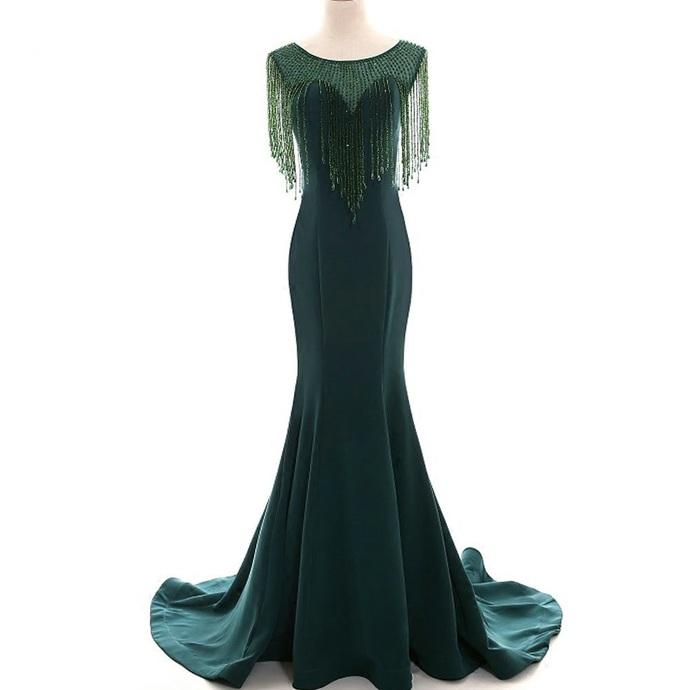 Elegant Dark Green Crystal Tassel Mermaid Long Satin Prom Dress 2019 Luxury O