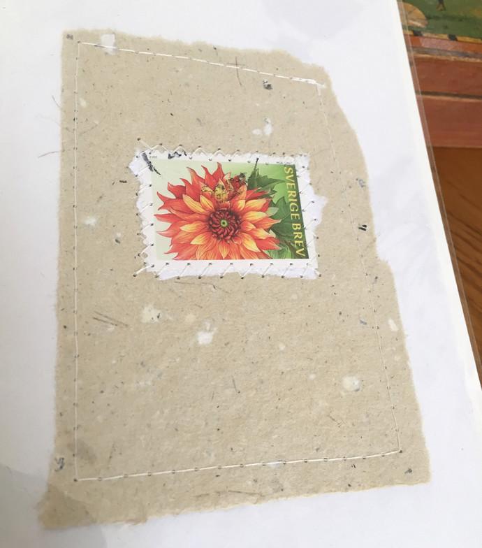 Handmade cards & envelopes with Swedish postal stamps motifs Blank inside - Pack