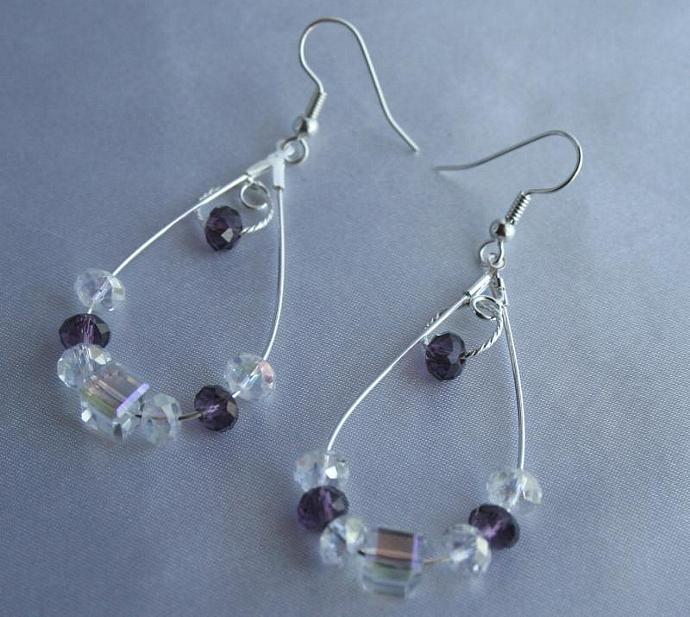 Sparking Crystal Silver Pierced Earrings