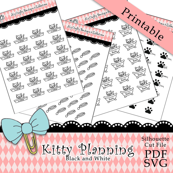"""""""Kitty Planning Black and White"""" Printable Download"""