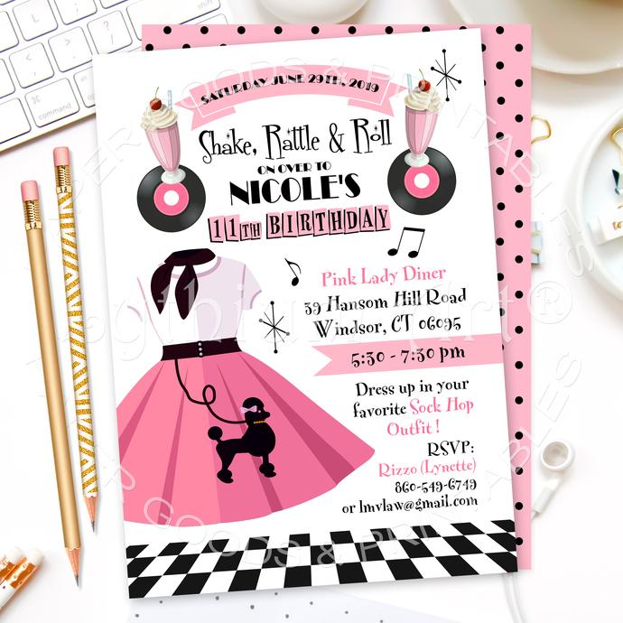 50's Sock Hop Invitation, Printable File + Back Design + Thank You Card