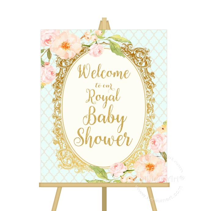Princess Baby Shower Welcome Sign, Printable File