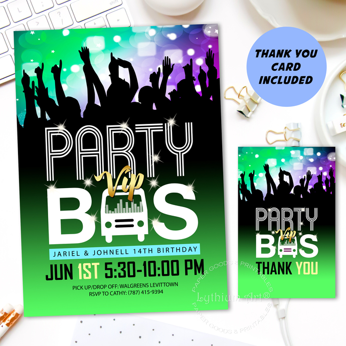 Party VIP Bus Invitation, Digital File + Thank You Card