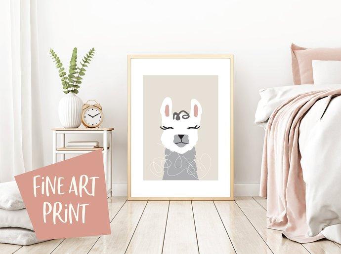 llama print, alpaca print, illustrated print, fine art print, llama art, wall