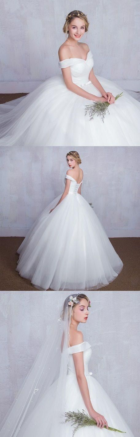 Off The Shoulder White Ball Gown Wedding Dress With Corset Back Wedding Dress