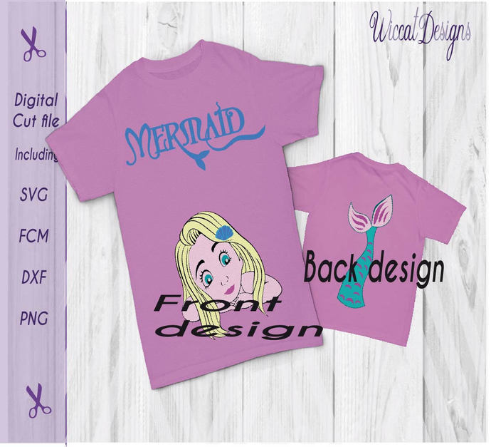 Mermaid front and back with tail svg, girls shirt, beach svg,  Holiday design,