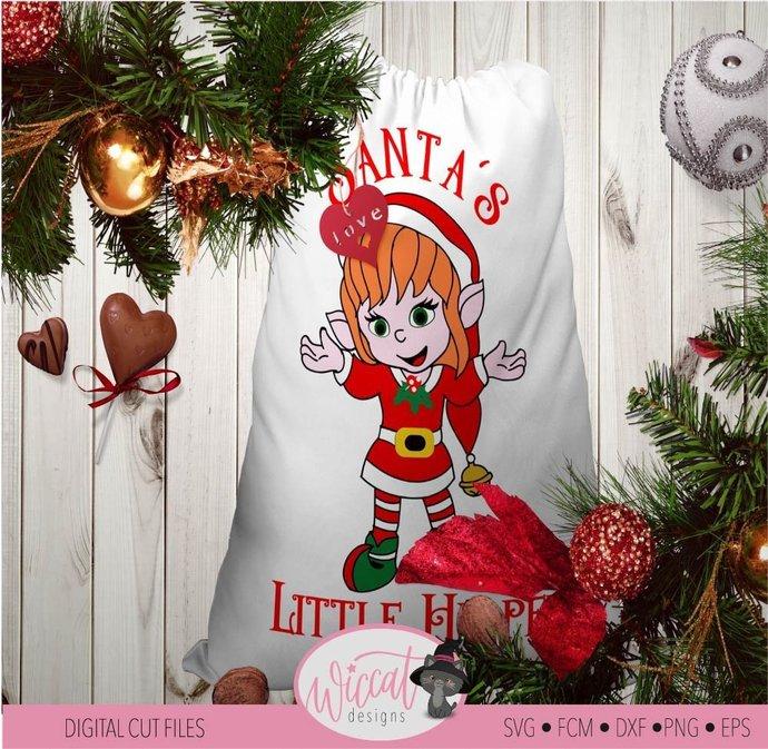 Christmas girl Elves svg, Christmas elf svg, Santa's little helper svg, Santa
