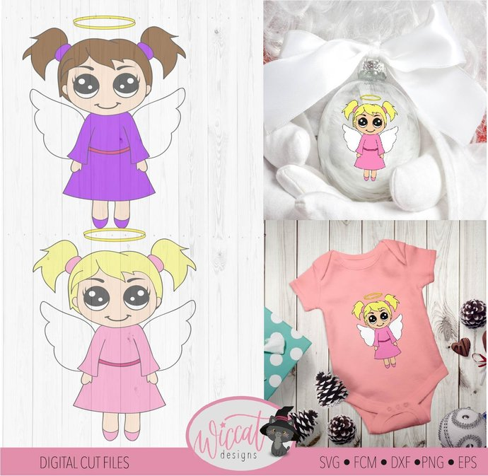 Christmas angel, Kawaii angel, Angel girl svg, Ornament design, Christmas file,