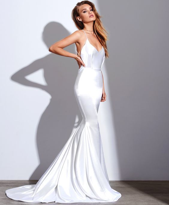 Mermaid Spaghetti Straps Long Cheap Ruched white Satin Prom Dres T4632