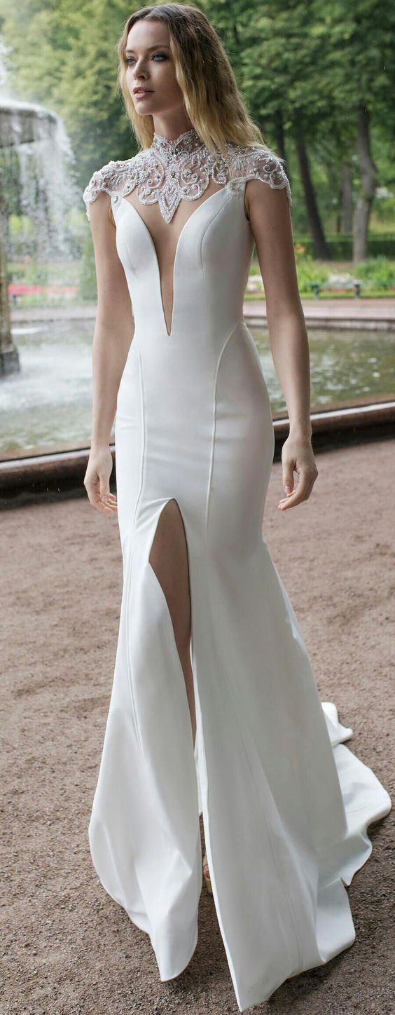 White Evening Dress High Slit Prom Dress Sexy Mermaid White Party Dress T4633