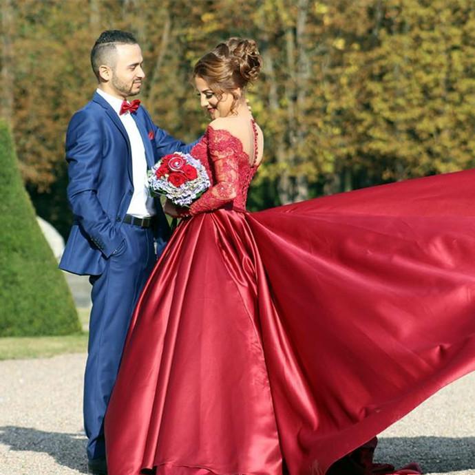 Burgundy Prom Dress , Burgundy Wedding Dress , Sweet 16 Dress , Long Trail Dress