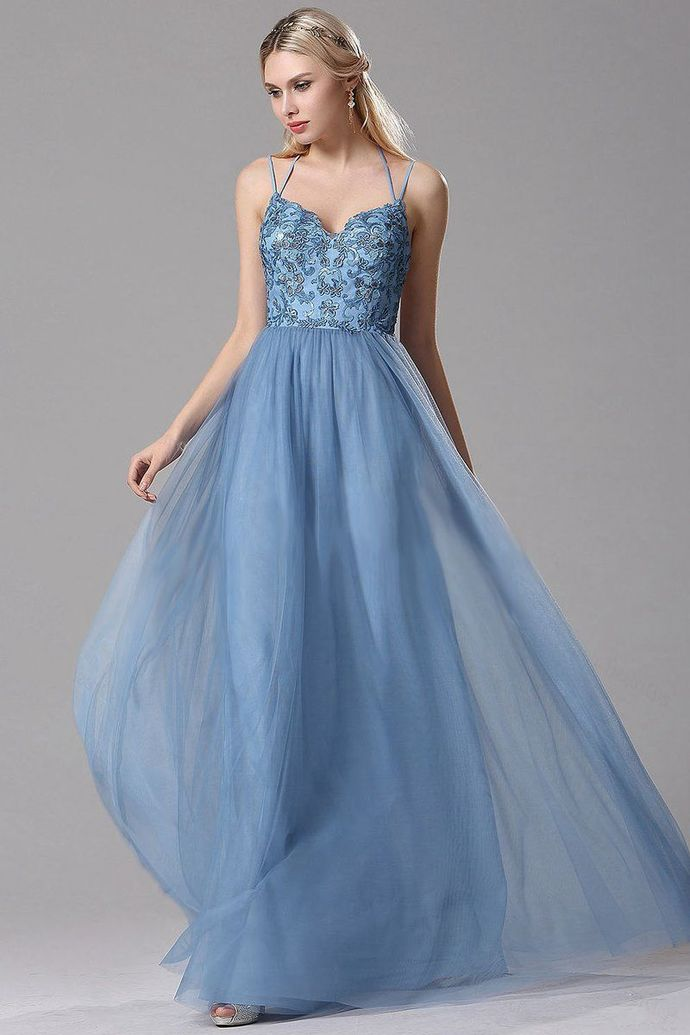 A-Line Sky Blue Lace Tulle Long Prom Dresses with Floral Lace and Spaghetti