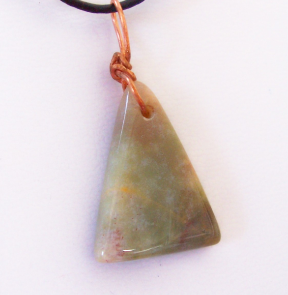 Pale Green Agate Triangle on Leather Cord