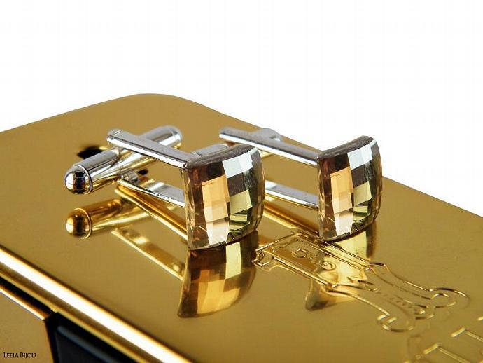 Golden Cuff Links Swarovski Crystal Silver Plated