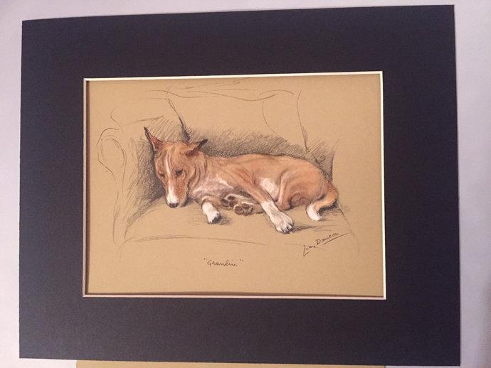 BASENJI DOG Signed mounted 1946 Lucy Dawson Mac Gremlin Basenji dog plate print