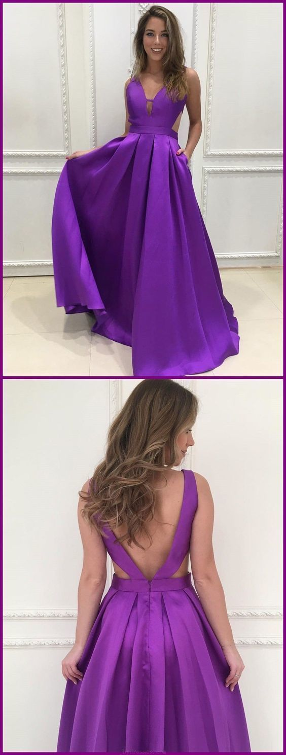 Prom Dresses V-neck, Sleeveless Prom Dresses, Prom Dresses 2019, Cute Prom