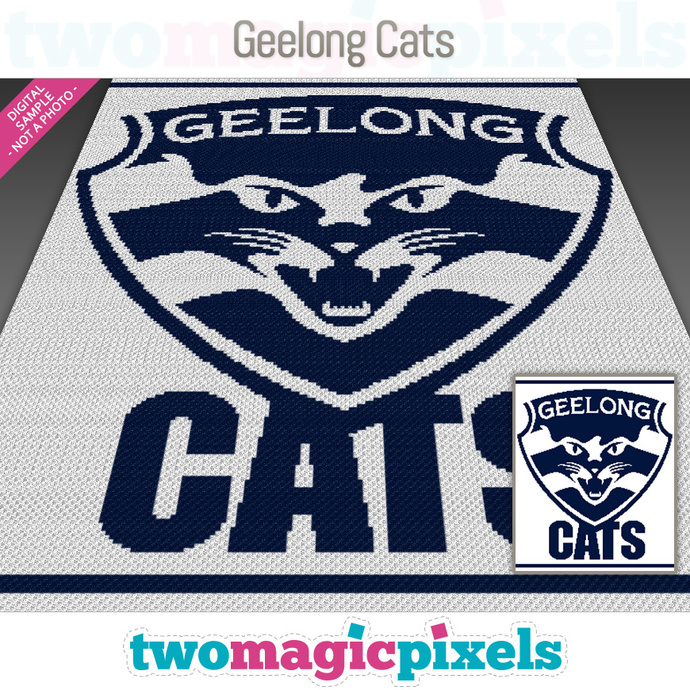 Geelong Cats crochet graph (Mini C2C, SC, HDC, DC, TSS), cross stitch; PDF