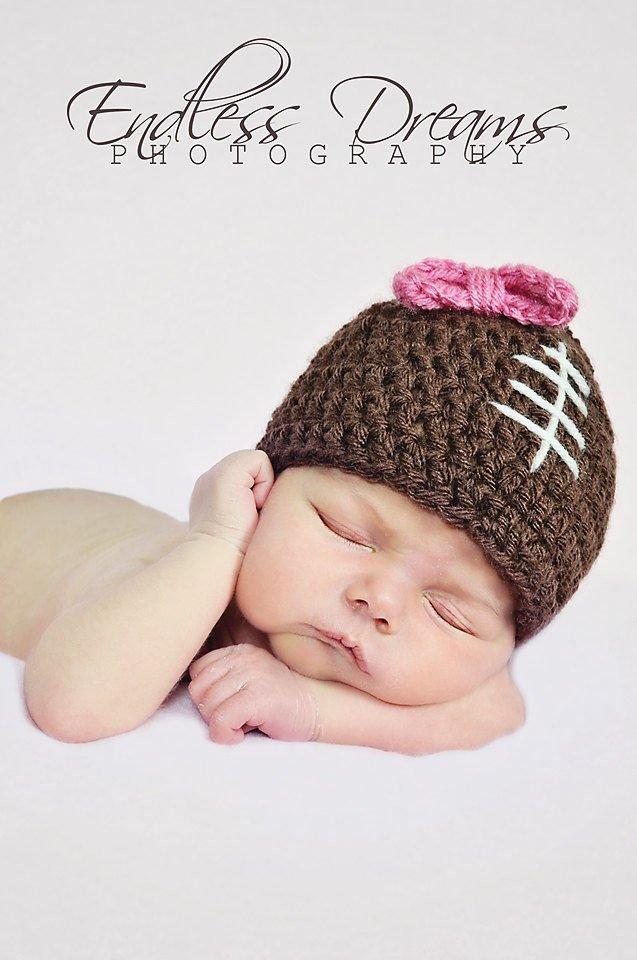 Baby Girl Football Beanie Hat with Bow, Newborn Girl Football Hat with red or