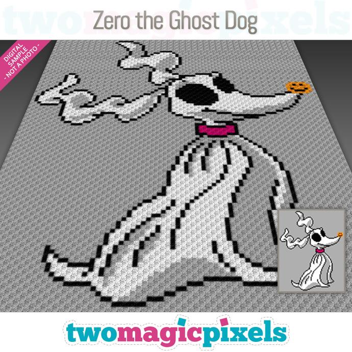 Zero The Ghost Dog crochet graph (C2C, Mini C2C, SC, HDC, DC, TSS), cross