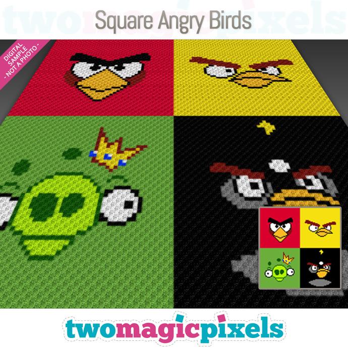 Square Angry Birds crochet graph (C2C, Mini C2C, SC, HDC, DC, TSS), cross