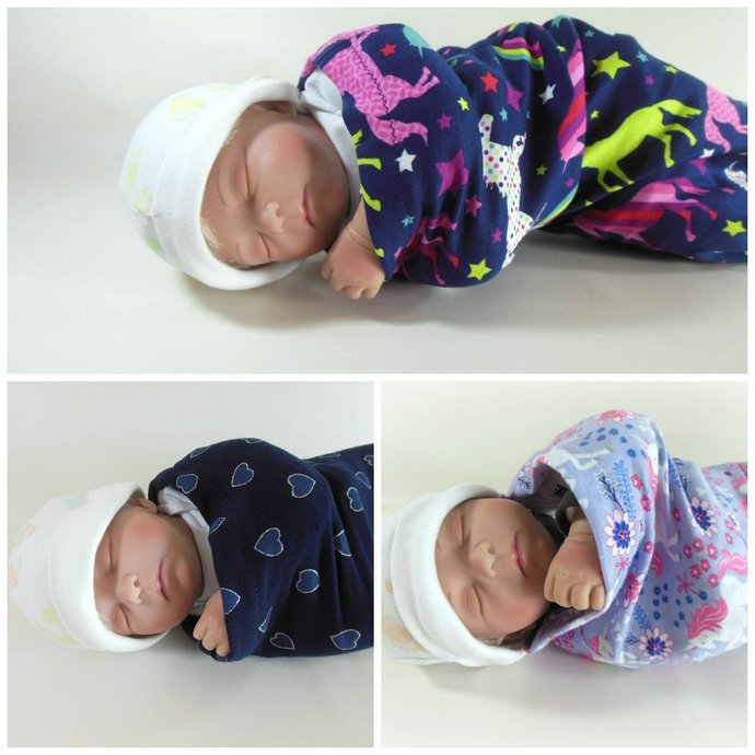 Set of 3 Swaddle Sacks, Sleep Sack, Cocoon, Blanket, Wrap in Unicorn and Heart