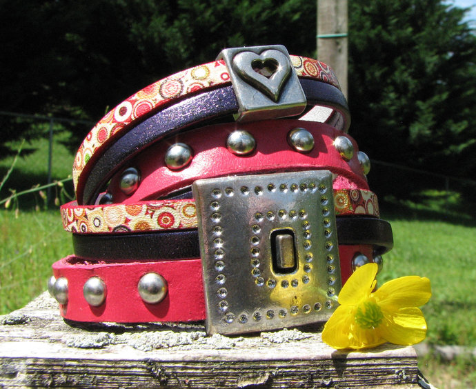 Riveted Leather Wrap Bracelet with Charm Slider and Magnetic Clasp