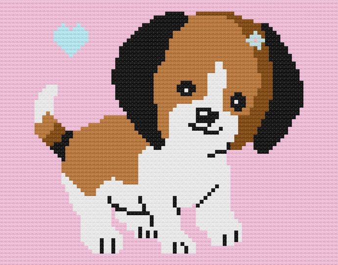 Baby Puppy Love C2C Crochet Pattern PDF Graph Written Color Block Instructions
