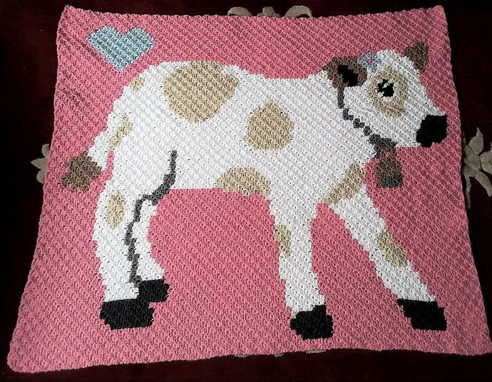 Baby Cow Love Crochet Pattern C2C Corner to Corner PDF Graph and Written Color