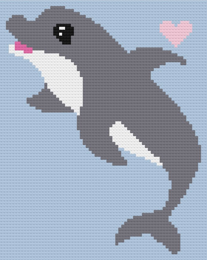 Baby Dolphin Love Crochet Pattern Boy C2C Corner to Corner PDF Graph Written