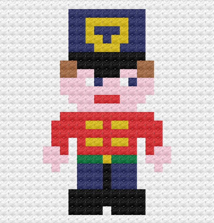 Christmas Toy Soldier Crochet Pattern Throw Pillow PDF Graph Row by Row Written