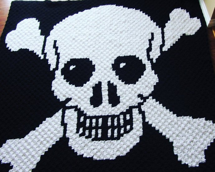 Jolly Roger Pirate Flag C2C Crochet Pattern Afghan Blanket Throw Graph and
