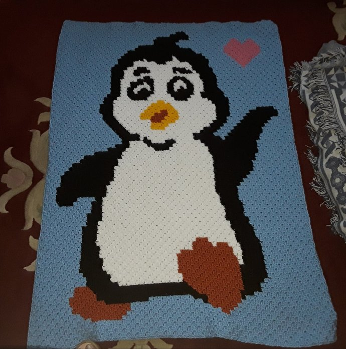 Baby Penguin Love C2C Crochet Pattern Graph Color Block and Written Instructions