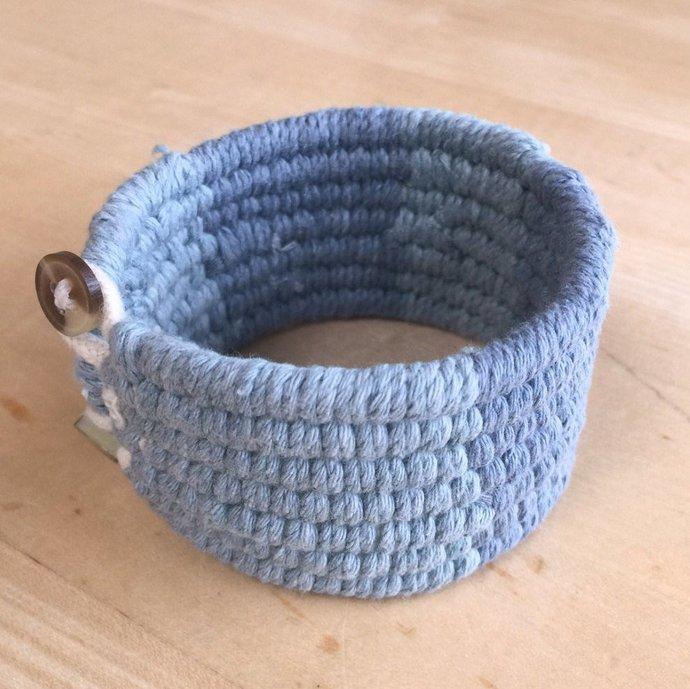 wide blue cotton tapestry weave cuff bracelet handwoven bracelet 4088