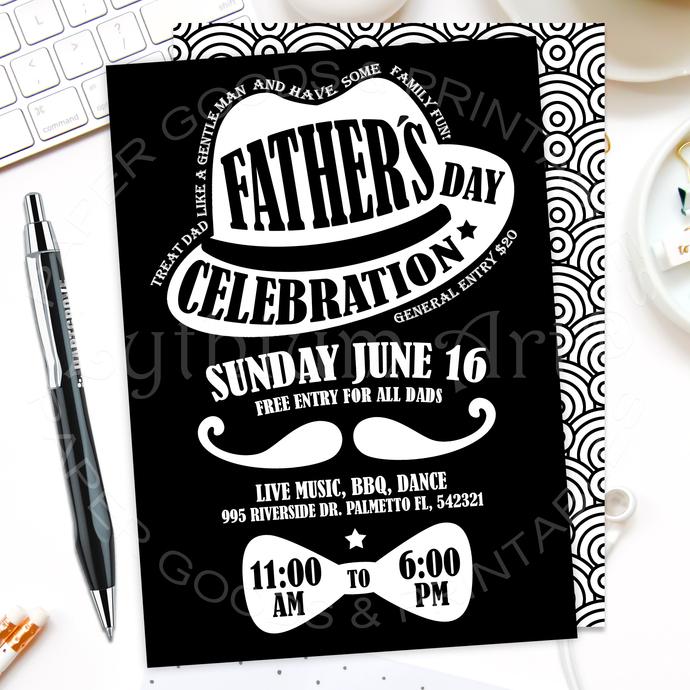 Father's Day Celebration Invite, Digital File + Back Design